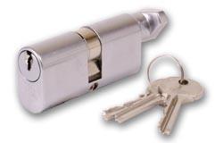 Union 2X13 Union Size C Oval profile key and turn cylinder - Satin Chrome
