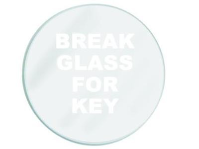 Replacement glass for break glass key box