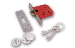 Union 2401 5 lever Sliding Door lock - Satin Chrome