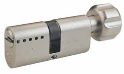 Mul-T-Lock Interactive+ Oval profile cylinder with thumbturn.